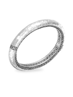 Classic Chain Medium Hammered Sterling Silver Bangle