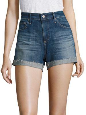 Hailey Slouchy Cuffed Denim Shorts by AG