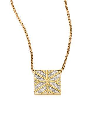 Modern Chain Diamond & 18K Yellow Gold Pendant Necklace