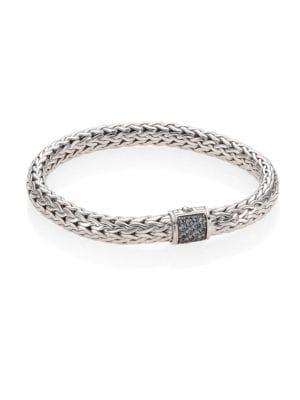 Classic Chain Medium Grey Sapphire & Sterling Silver Bracelet