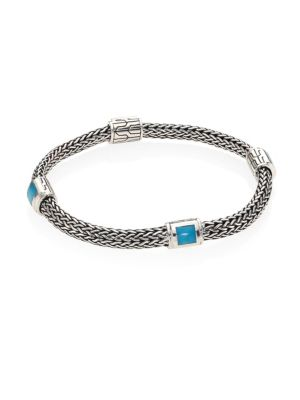 Classic Chain Sterling Silver & Gemstone Four-Station Pusher-Clasp Extra-SmallBracelet