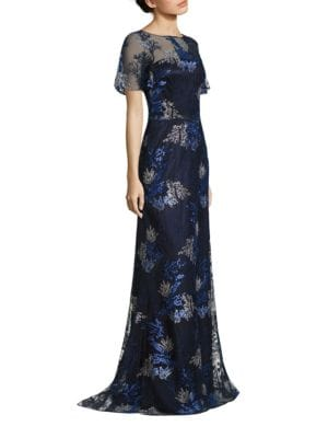 Embroidered Metallic Evening Gown