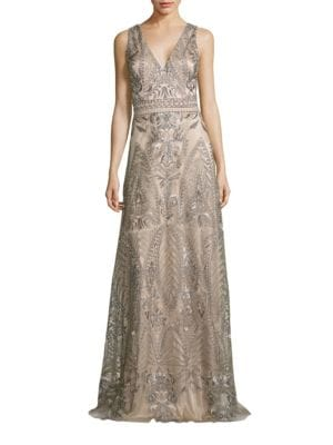 Embroidered Evening Gown by David Meister