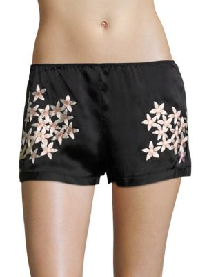 Petals Silk Charmeuse Embroidered Shorts