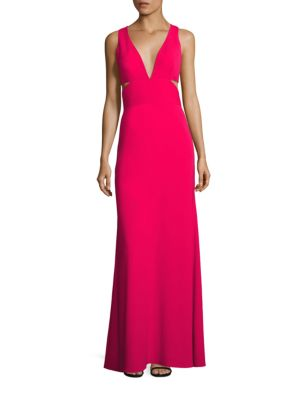 Deep V-Neck Cutout Gown
