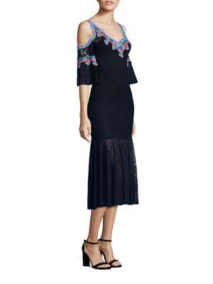 Lace Jacquard Knit Cold Shoulder Bell Sleeve Dress