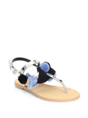 Estelle Pom-Pom Metallic Thong Sandals