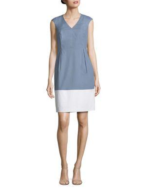 V-Neck Colorblock Dress