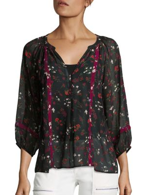 Gloria Floral Printed Silk Blouse