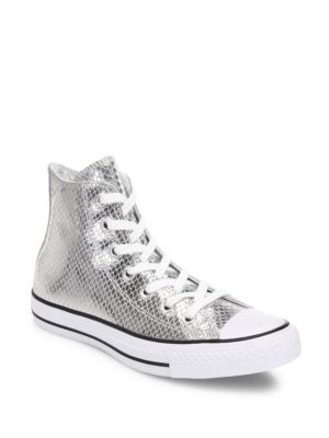 Chuck Taylor All-Star Snake-Print Metallic Leather High-Top Sneakers