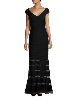 Pintuck Sheer Paneled Gown