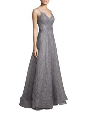 Flora Metallic Lace Fit-&-Flare Gown