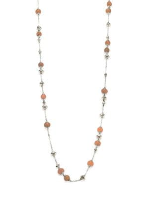 Bamboo Peach Moonstone & Sterling Silver Sautoir Necklace/36