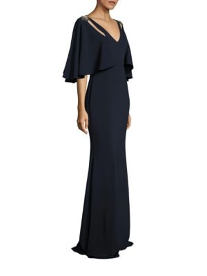 Cutout Cape Gown by Badgley Mischka