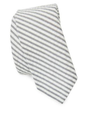 Seersucker Gris Et Blanc Cravate Courte Thom Browne IDCp6
