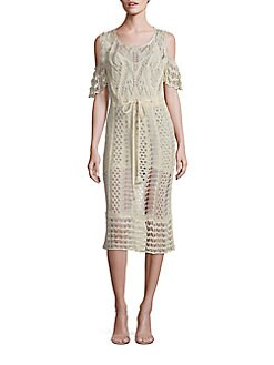 See by Chloé Cold Shoulder Crochet Dress