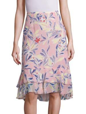 Tropical Print Silk Skirt