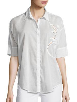 Sally Salamander Cutout Short Sleeve Shirt