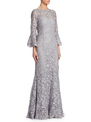 Metallic Bell Sleeve Lace Gown