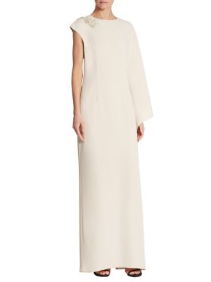 Solid One-Shoulder Cape Gown