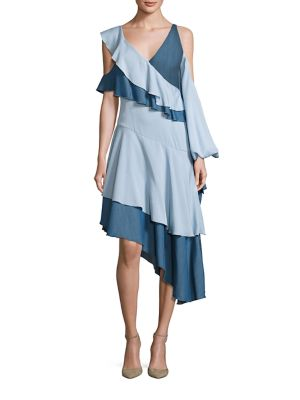 Ruffled Cold-Shoulder Chambray Dress