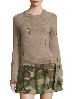 marc jacobs female distressed woolblend sweater