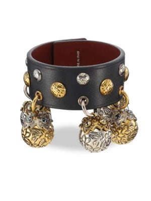 Studded Leather Charm Bracelet