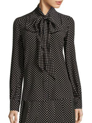 marc jacobs female polkadot silk tieneck blouse