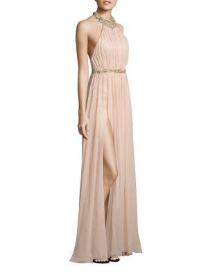 Embellished Silk Halter Gown