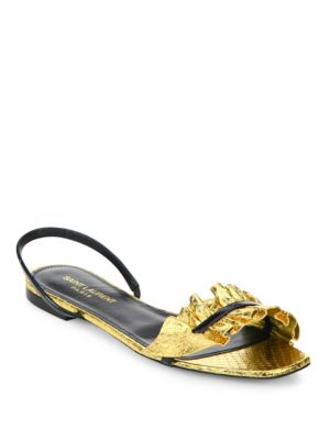 Edie Metallic Snakeskin & Patent Leather Flat Slingback Sandals