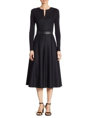 Belted Zip-Front Wool Dress
