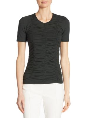 Ruched Zip-Front Tee by Akris punto