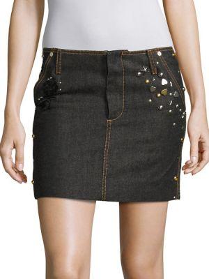 Studded Denim Mini Skirt by COACH