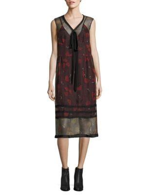 Bib Tie-Front Sheer Silk-Blend Dress