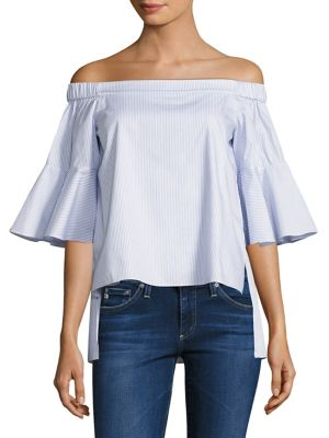 Shane Striped Off-The-Shoulder Bell Sleeves Cotton Top by Prose & Poetry