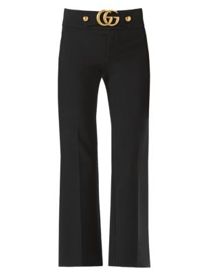 gucci female ggdetail wool silk flare pants