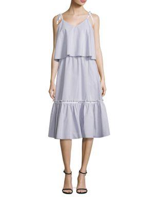 Lea Shoulder-Tie Ruffled Slim-Fit Dress