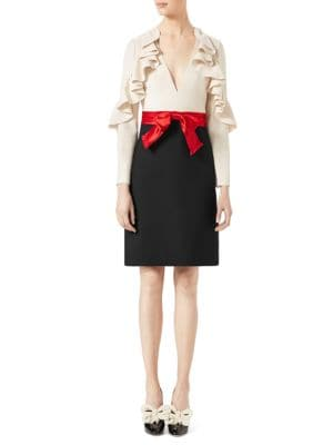 Ruffle-Sleeve Silk & Wool Bow Dress