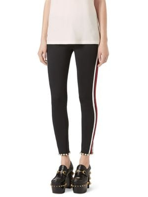 Faux Pearl-Trim Striped Tech Jersey Leggings