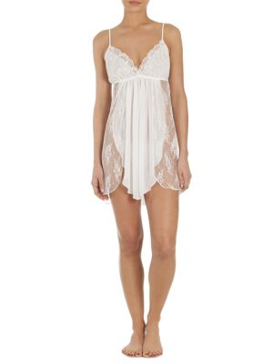 Semi-Sheer Lace-Overlay Chemise by In Bloom