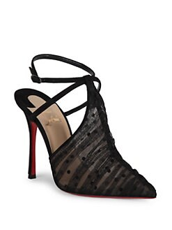 Christian Louboutin - Acide Lace 100 Tulle Ankle-Strap Pumps