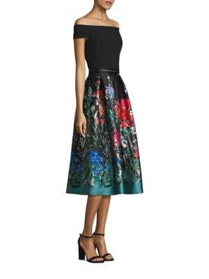 Off-the-Shoulder Printed Fit & Flare Dress