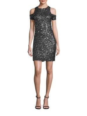 Marcie Sequined Cold Shoulder Dress