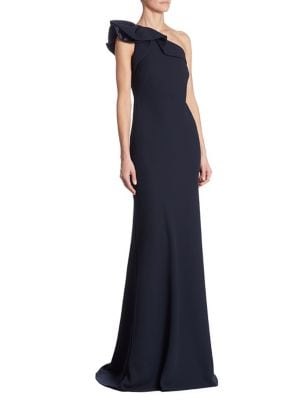 One-Shoulder Crepe Ruffled Gown
