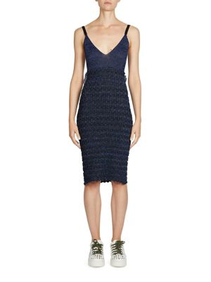 Ruffle Lurex Knit Sheath Dress