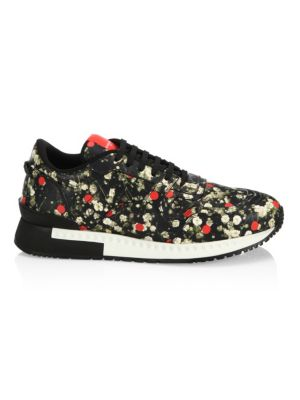 Floral-Print Leather Sneakers