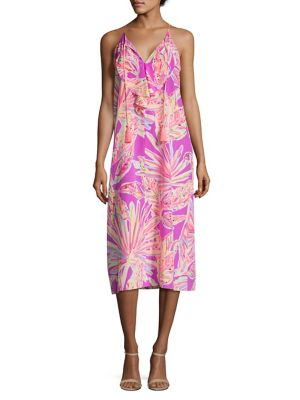Lachelle Printed Silk Midi Dress