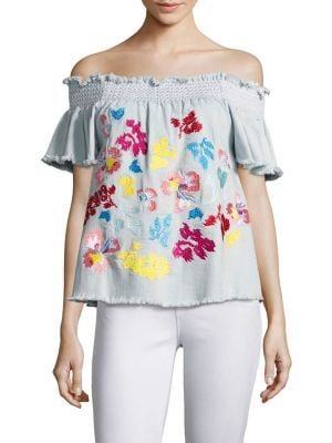 Carmen Fringed Embroidered Off-The-Shoulder Top by Tanya Taylor