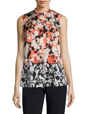 Bamina Floral-Print Silk Blouse by BOSS