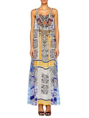 camilla female chinese whispers mixed print silk gown